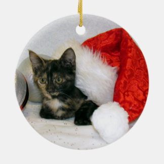 Cat, Kitten, Christmas, Rescue Ceramic Ornament