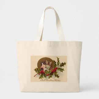 Cat Kitten Holly Winterberry Jumbo Tote Bag
