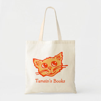 Cat kitten orange hued graphic library book bag