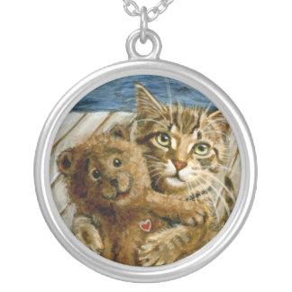 Cat Kitten Stuffed Bear Necklace