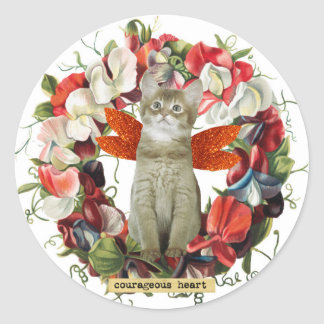 Cat kitten vintage style flowers sticker