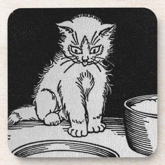 Cat Kitten Who Got the Cream Illustration Coaster