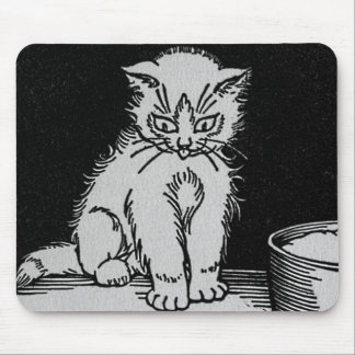 Cat Kitten Who Got the Cream Illustration Mousepad