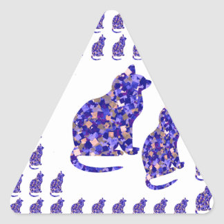Cat Kittens KIDS Love Template Greetings Gifts FUN Triangle Sticker