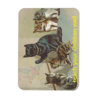 cat kittens mom teach your children well rectangular photo magnet