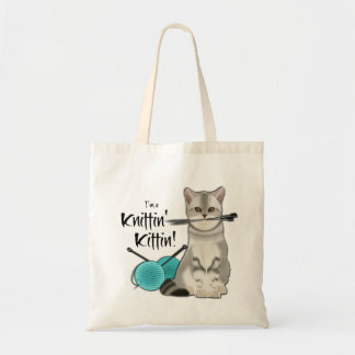 Cat Knitting bag cotton tote with handle turquoise