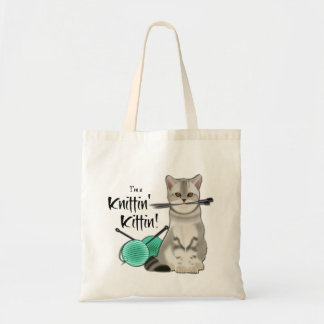 Cat Knitting bag cotton tote with handles aqua