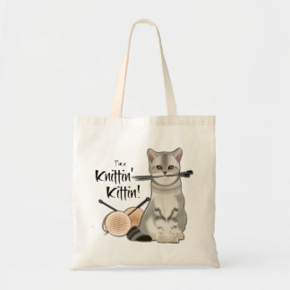 Cat Knitting bag cotton tote with handles peach