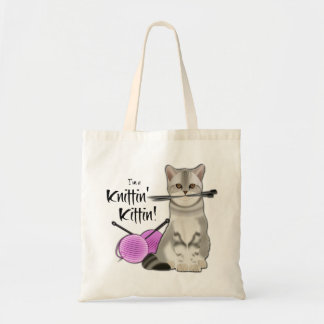 Cat Knitting bag cotton tote with handles pink