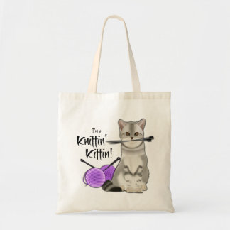 Cat Knitting bag cotton tote with handles purple