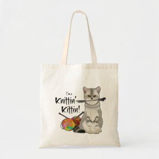 Cat Knitting bag cotton tote with handles rainbow