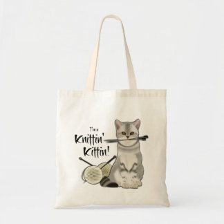 Cat Knitting bag cotton tote with handles taupe