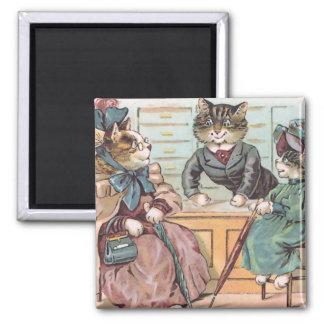 Cat Ladies Shopping Square Magnet