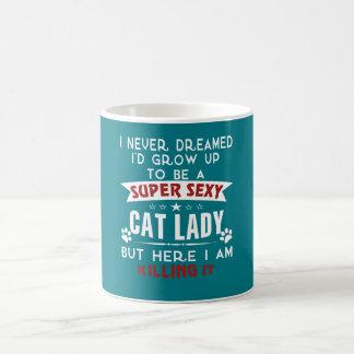 Cat lady basic white mug