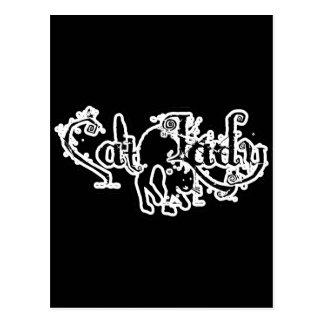 Cat Lady Black & White Postcard