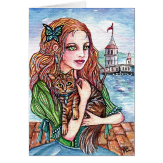Cat Lady by the Dock Card