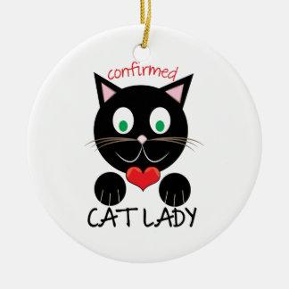 Cat Lady Round Ceramic Ornament