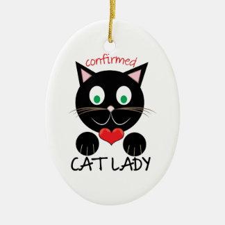 Cat Lady Ceramic Oval Ornament