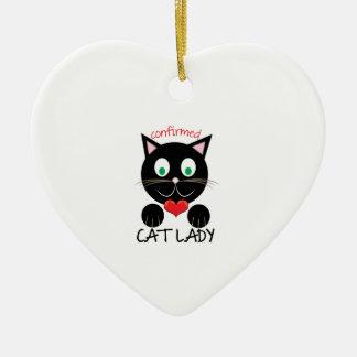 Cat Lady Ceramic Heart Ornament