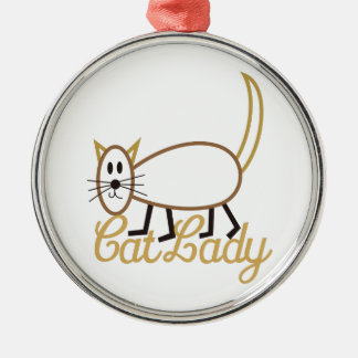 Cat Lady Silver-Colored Round Decoration