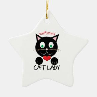 Cat Lady Ceramic Star Ornament