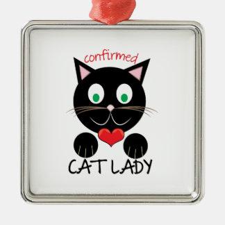 Cat Lady Silver-Colored Square Ornament