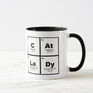 """Cat Lady"" periodic table of elements nerdy mug"