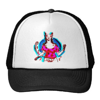 cat lady pop art cap