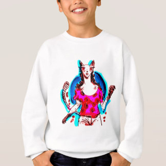 cat lady pop art sweatshirt