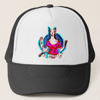 cat lady pop art trucker hat