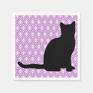 Cat Lavender and White Diamond Napkins Disposable Napkin