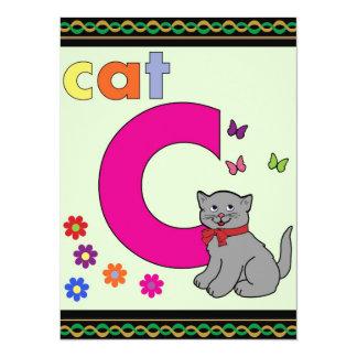 Cat Letter C 14 Cm X 19 Cm Invitation Card