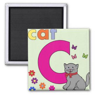 Cat Letter C Square Magnet