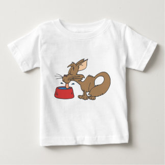 Cat Licking Bowl Baby T-Shirt