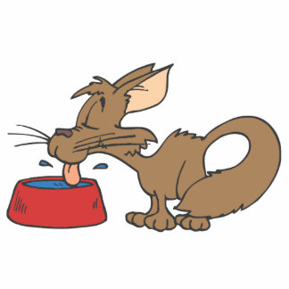 Cat Licking Bowl Standing Photo Sculpture