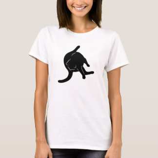 Cat Licking Butt T-shirt (black silhouette)