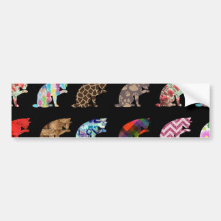 Cat Licking its Paw Aztec Floral Stripes Pattern Bumper Sticker