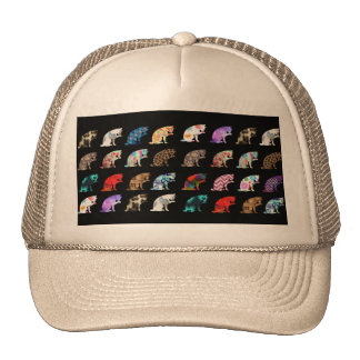 Cat Licking its Paw Aztec Floral Stripes Pattern Cap