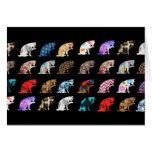 Cat Licking its Paw Aztec Floral Stripes Pattern Note Card