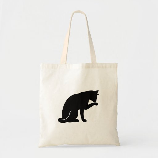 Cat Licking Paw Tote Bag (black silhouette)