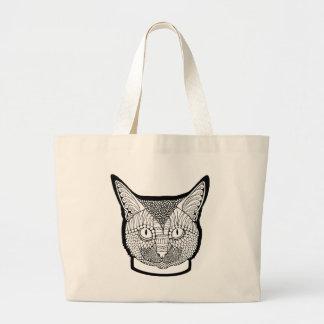 Cat Line Art Design Large Tote Bag