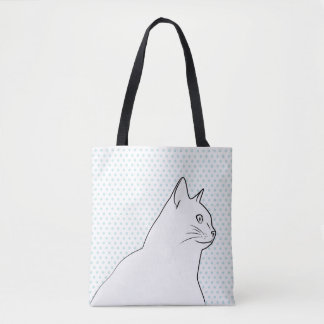 Cat line drawing with polka dots tote bag