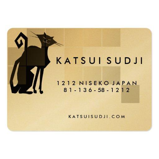 Cat Logo Design - Business Card Gold