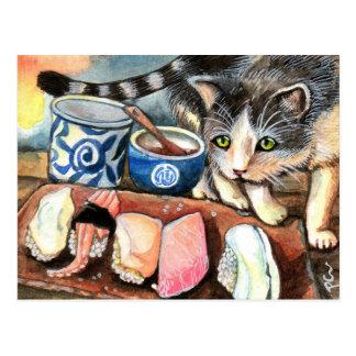 Cat Looking at Sushi Postcard