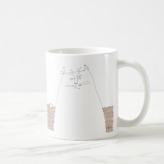 Cat looking with empty dish coffee mug