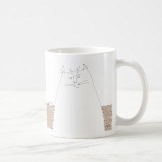 Cat looking with empty dish coffee mug