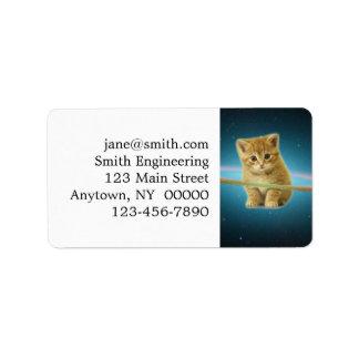 Cat lost in space address label