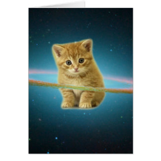 Cat lost in space card