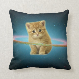 Cat lost in space cushion