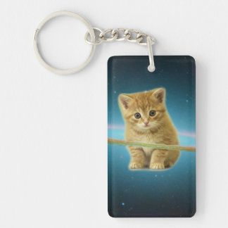 Cat lost in space Double-Sided rectangular acrylic key ring